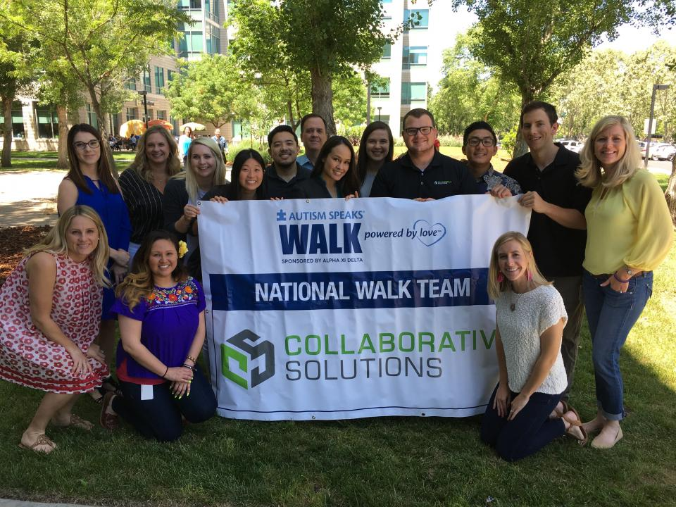 Collabies celebrating being named Autism Speaks' first National Walk Team and raising thousands of dollars for an amazing organization.