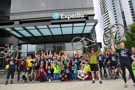 Expedia employees celebrate Bike to Work Month