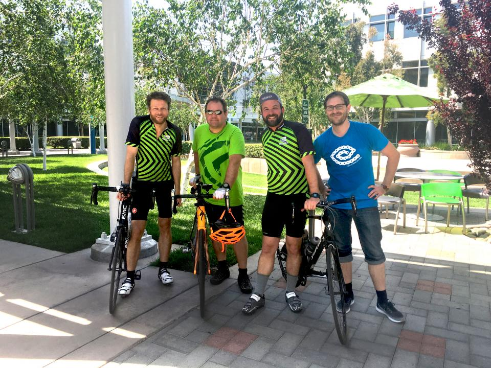 NVIDIANs in full colors for Bike2Work Day, after pedaling 40 miles from San Francisco to Santa Clara.