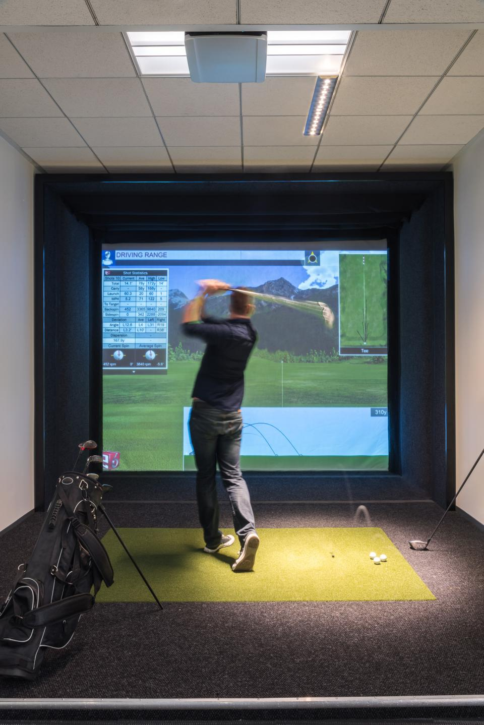 Our LA HQ has a state-of-the-art golf simulator