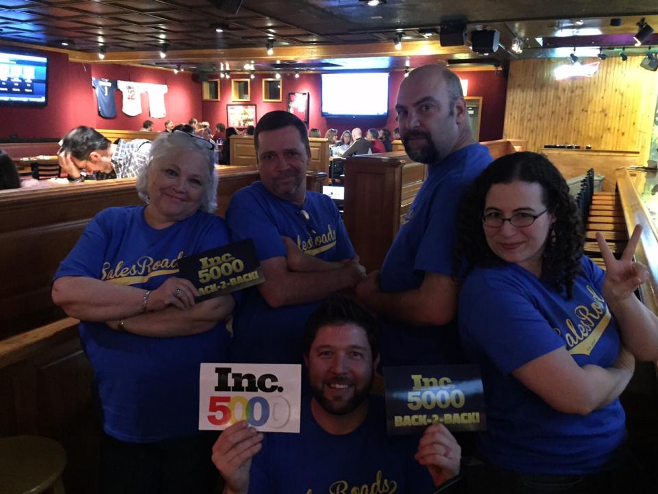 The Indiana crew celebrates our Inc. 5000 victory at SalesRoads Happy Hour