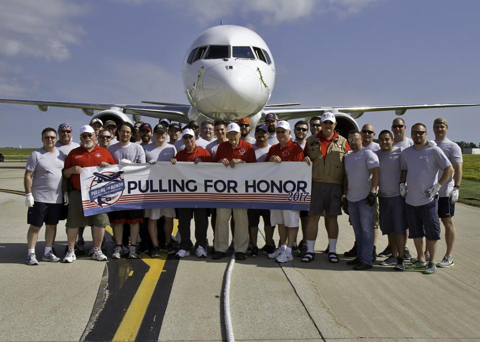 Our Pulling for Honor team helping raise funds for the Eastern Iowa Honor Flight which transports veterans to Washington D.C. to visit the memorials built to honor their service.