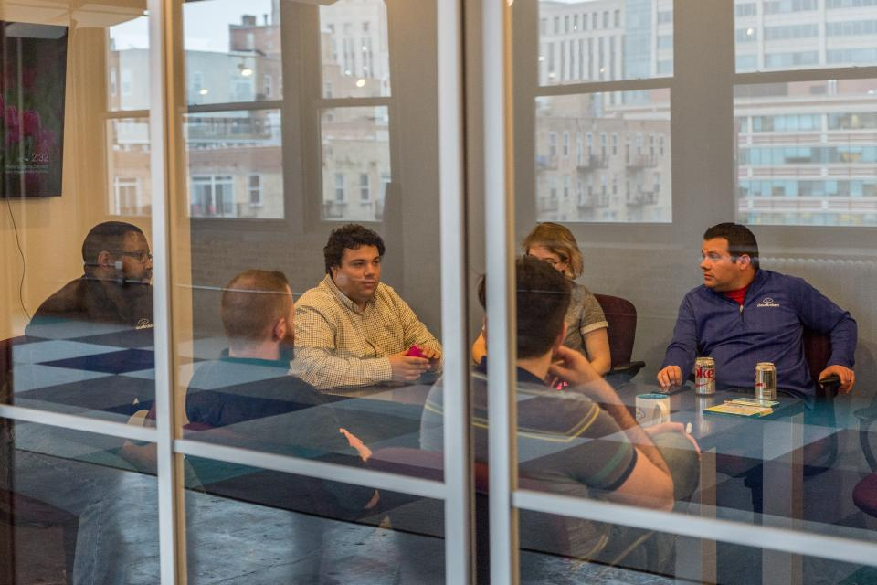 A huddle in one of Cloudbakers conference rooms