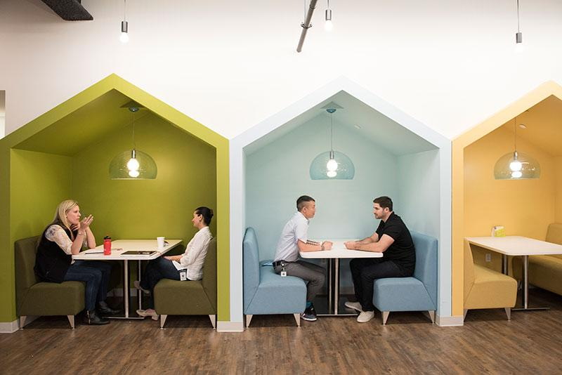 Wayfair employees meet to brainstorm and share ideas in one of the offices many collaboration spaces.