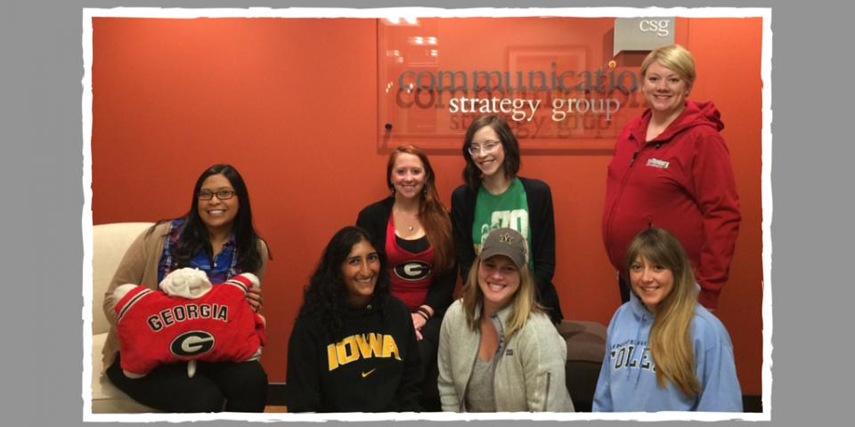 The CSG Education team shows off their school pride on College Day.