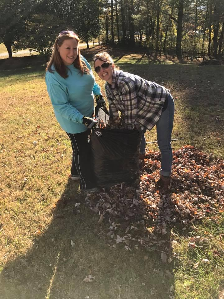 One of our Fall Community Service Projects - Raking Leaves for our Patients