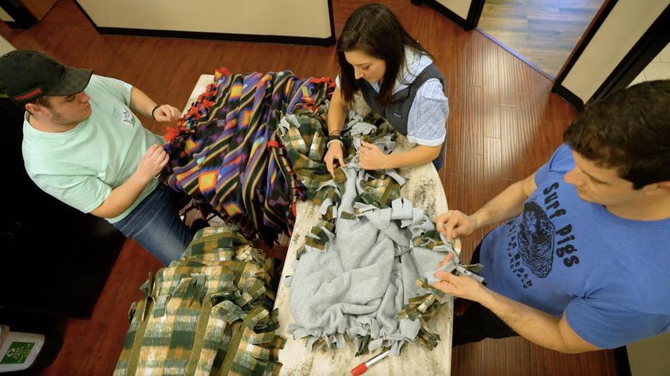 Making blankets for Project Linus