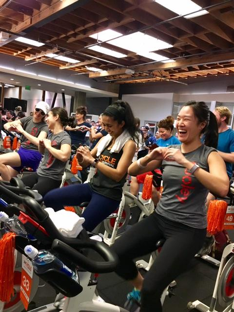 The Cooley team competes at the Cycle for Survival event in San Francisco.