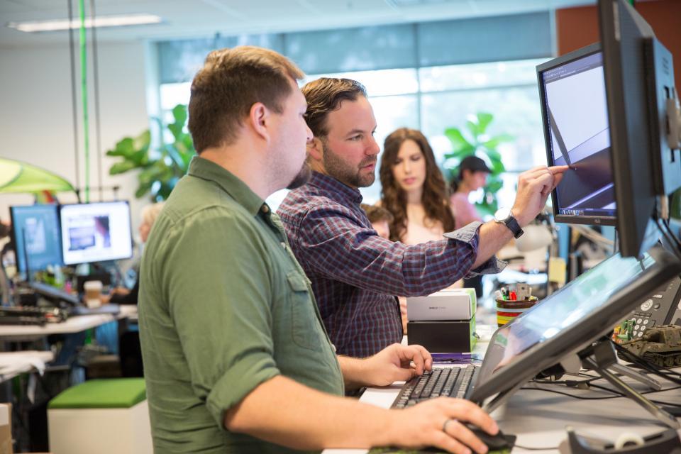 NVIDIA's Creative team works through the latest draft of a new website.