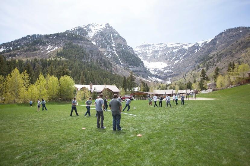 We work hard, but we also have a lot of fun together—nothing like a little human foosball in the mountains.