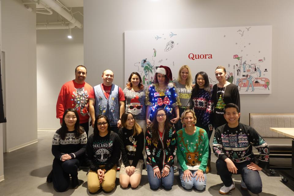 Ugly holiday sweater day at Quora