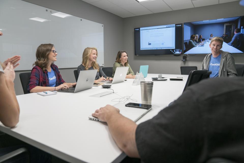 A few Gridders in a meeting in one of SendGrid's conference rooms. All conference rooms are set up with high tech A/V technology.