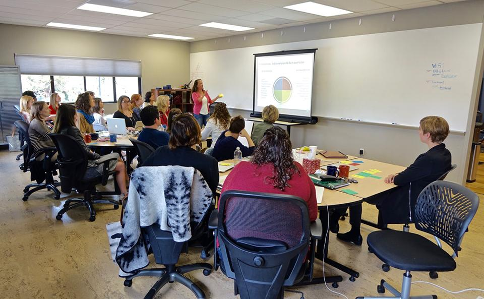 Team member Erin Wilgus gives a presentation on Insights at a Blue Beyond Development Day.