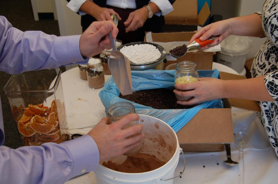 Framework cocoa mix packing party