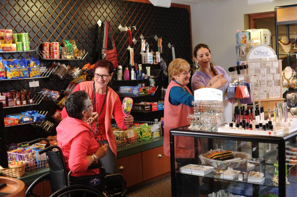 The Gift Shop is a frequent stop for staff and residents alike.