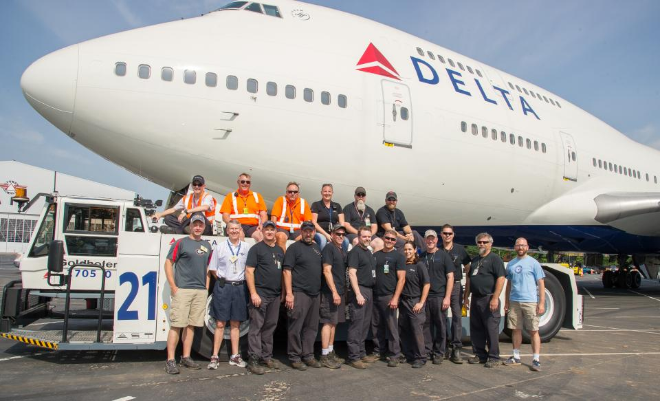 A specialized team of Delta employees move Ship 6301, the first Boeing 747-400, to its final home at the Delta Flight Museum.