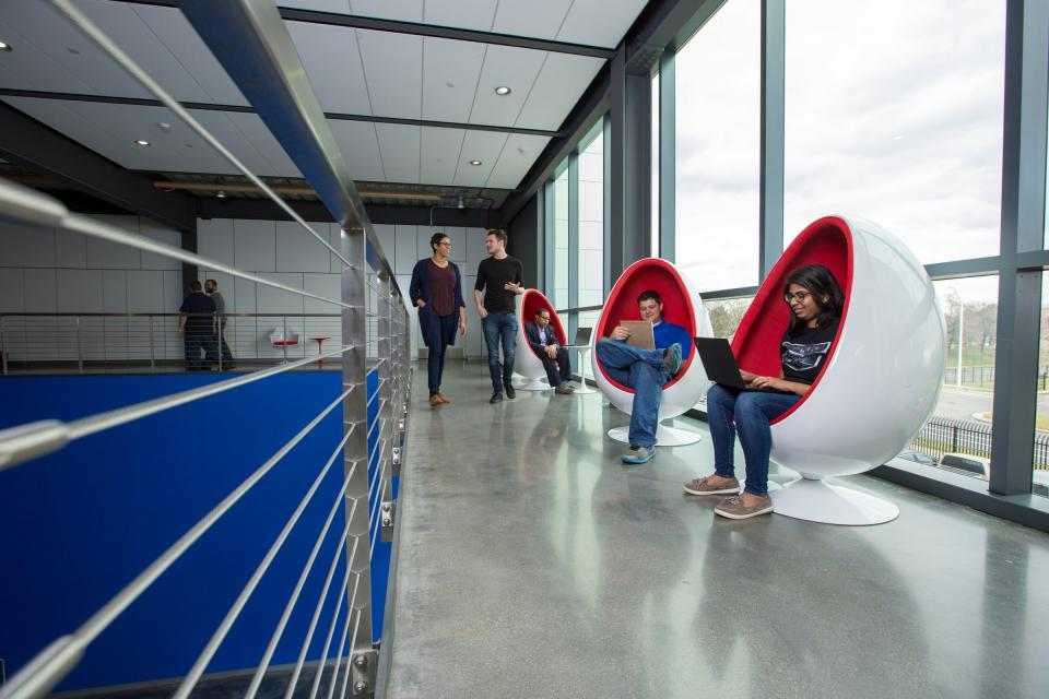 Quicken Loans team members enjoy unique seating in the company's data center.