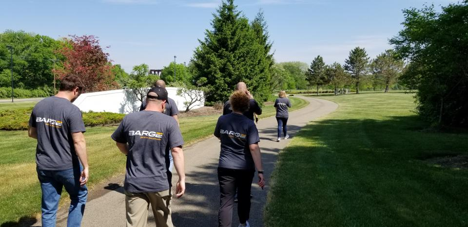 Dayton, OH employees participate in a fitness walk