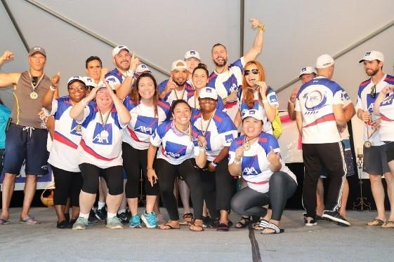 AXA PARC ERG Dragon Boat - AXA's Dragon Boat team celebrate their 1st place finish at the Charlotte Dragon Boat Festival!