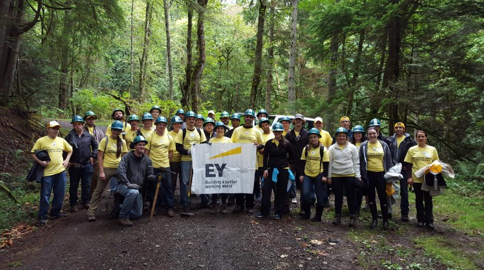 EY professionals volunteer with Mountains to Sound Greenway in Seattle, Washington, on EY Connect Day 2015.