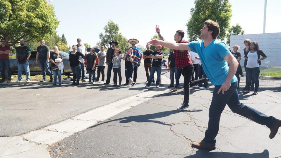 We have friendly competitions throughout the year, like this Egg Toss.