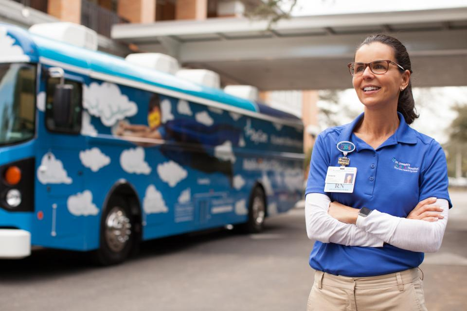 Registered nurse Valarie Blau works in a pediatric clinic on wheels – the St. Joseph's Children's Hospital Mobile Medical Clinic. The BayCare hospital and several community partners fund the mobile clinic, which travels underserved areas of Hillsborough County