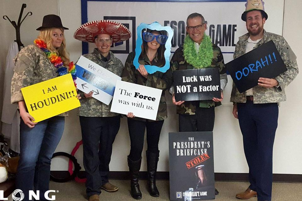 HR team after completing an escape room