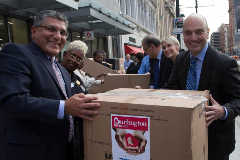 Our signature new store opening efforts include donating pallets of merchandise to a local non-profit organization. Here, Burlington executives help load the truck at our Center City, Philadelphia grand opening.