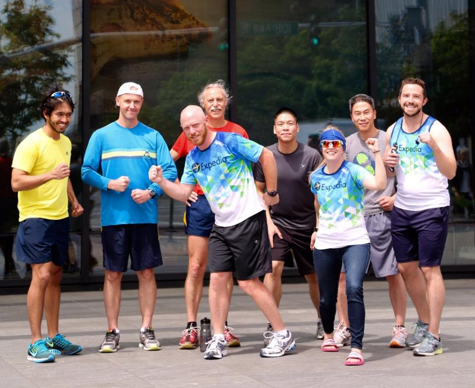 Expedia Running Group getting ready for a lunch jog