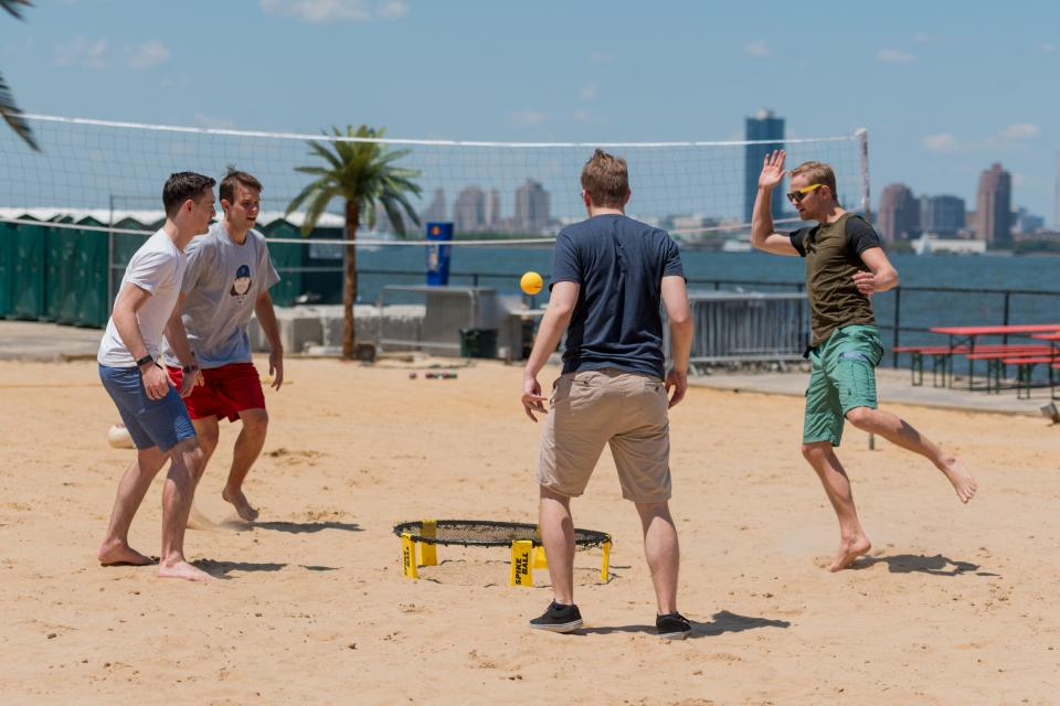 Friendly game of spike ball.