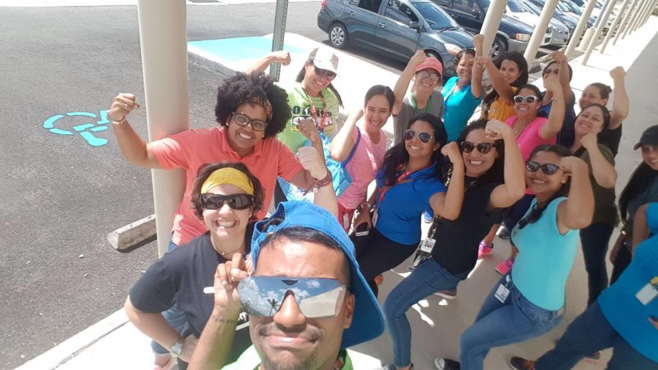 The team from Bright Horizons ChiquiAMGEN in Puerto Rico showing their resilience and pride as they reopened their center after the devastation from Hurricane Maria. The team sent this selfie to thank their Bright Horizons family for their support.