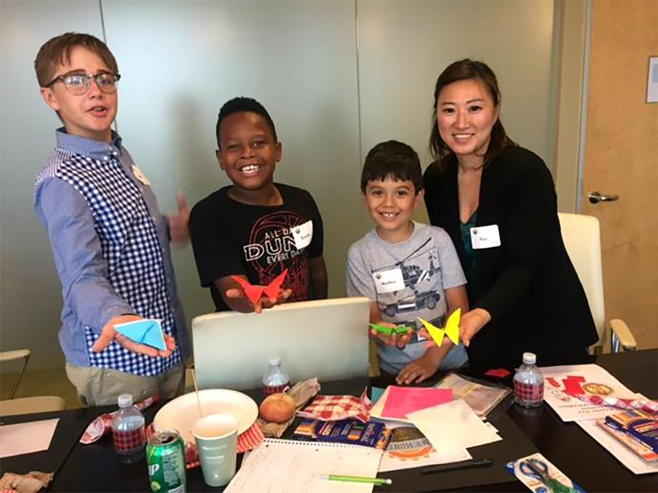 During Hunton's Los Angeles office's Bring Your Child to Work Day, a staff member shared the ancient Japanese art of origami (paper folding) with three excited students!