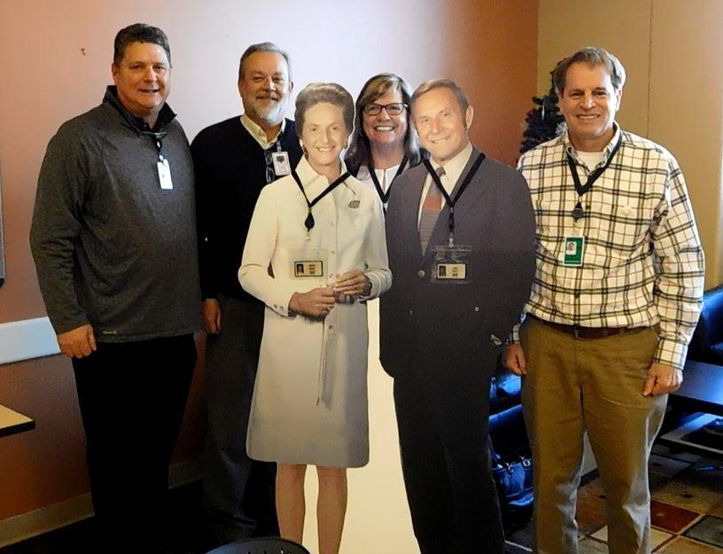 """At an Associate-planned """"Founders Day"""" event, participants had the opportunity to take a selfie with life-size cardboard cutouts of Bill and Vieve and share what they would thank our company founders for if they had the opportunity."""