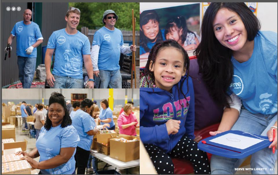 Employees participating in the annual Serve with Liberty employee global day of service event