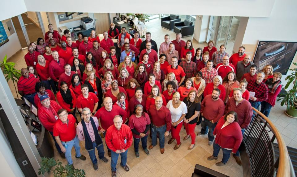 Employees Kicking off Go Red for Women (American Heart Association) event