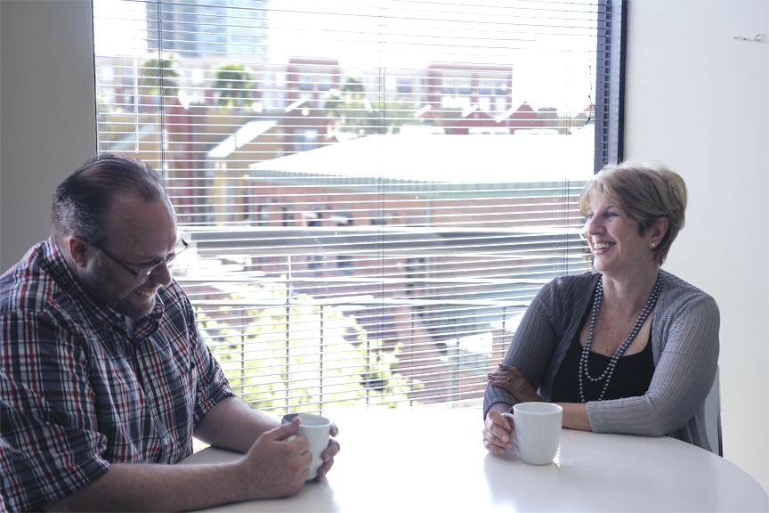 Doris Granatowski, CEO, meeting with Jason Wollard, Finance Director