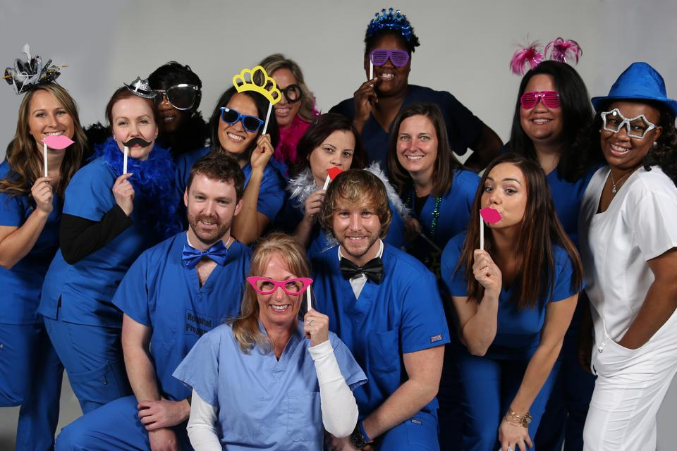 Team members ham it up for a Nurses' Week photo shoot!