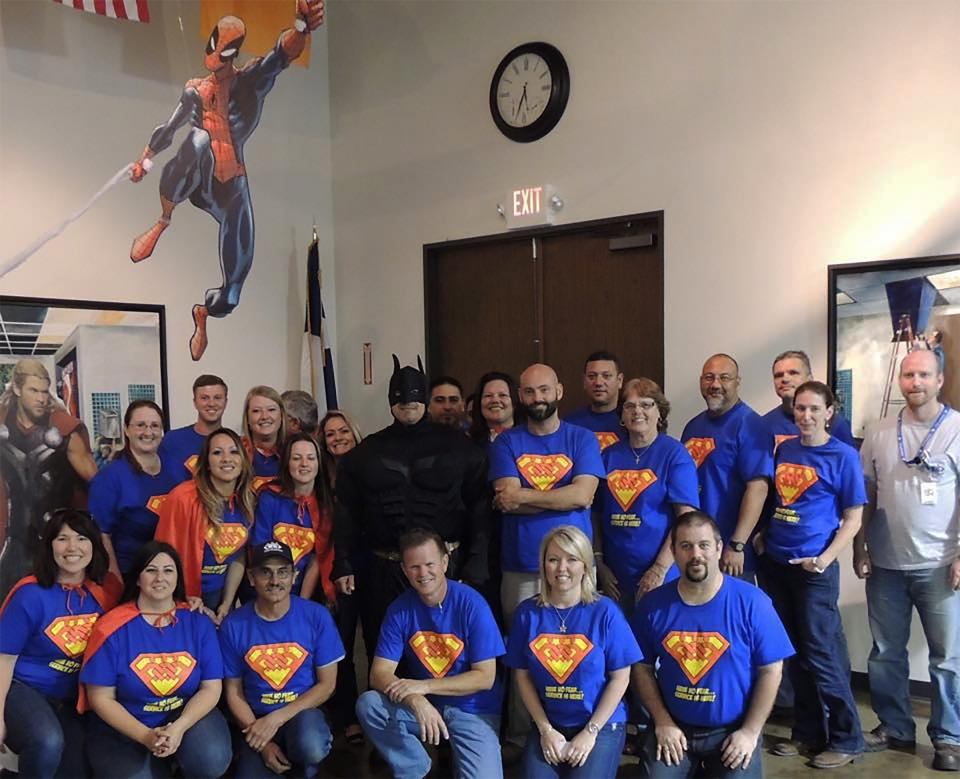 Super Hero Themed All Partner Huddle