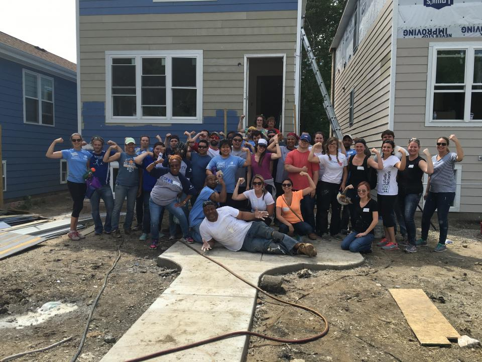 Our team volunteering for Habitat for Humanity. We spent a work day building a house on the south side of Chicago.