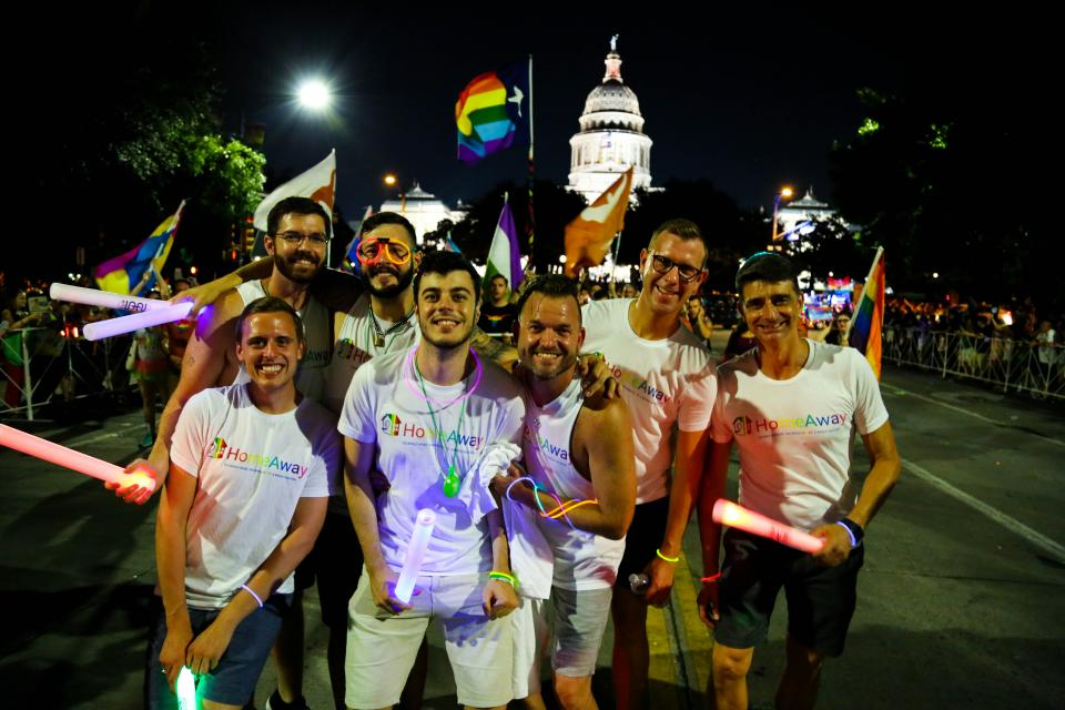 HomeAway employees marching in the Austin Pride Parade