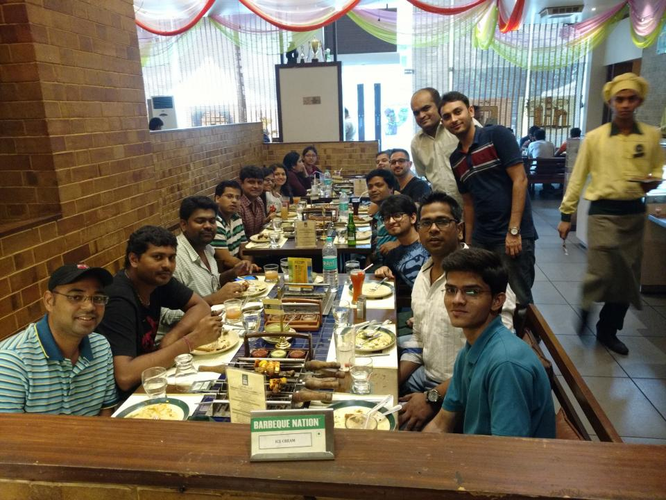 Eccella India enjoying lunch together at a Mumbai BBQ joint