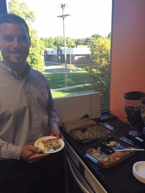 BCT team member enjoying some home cooked breakfast prepared by a fellow co-worker