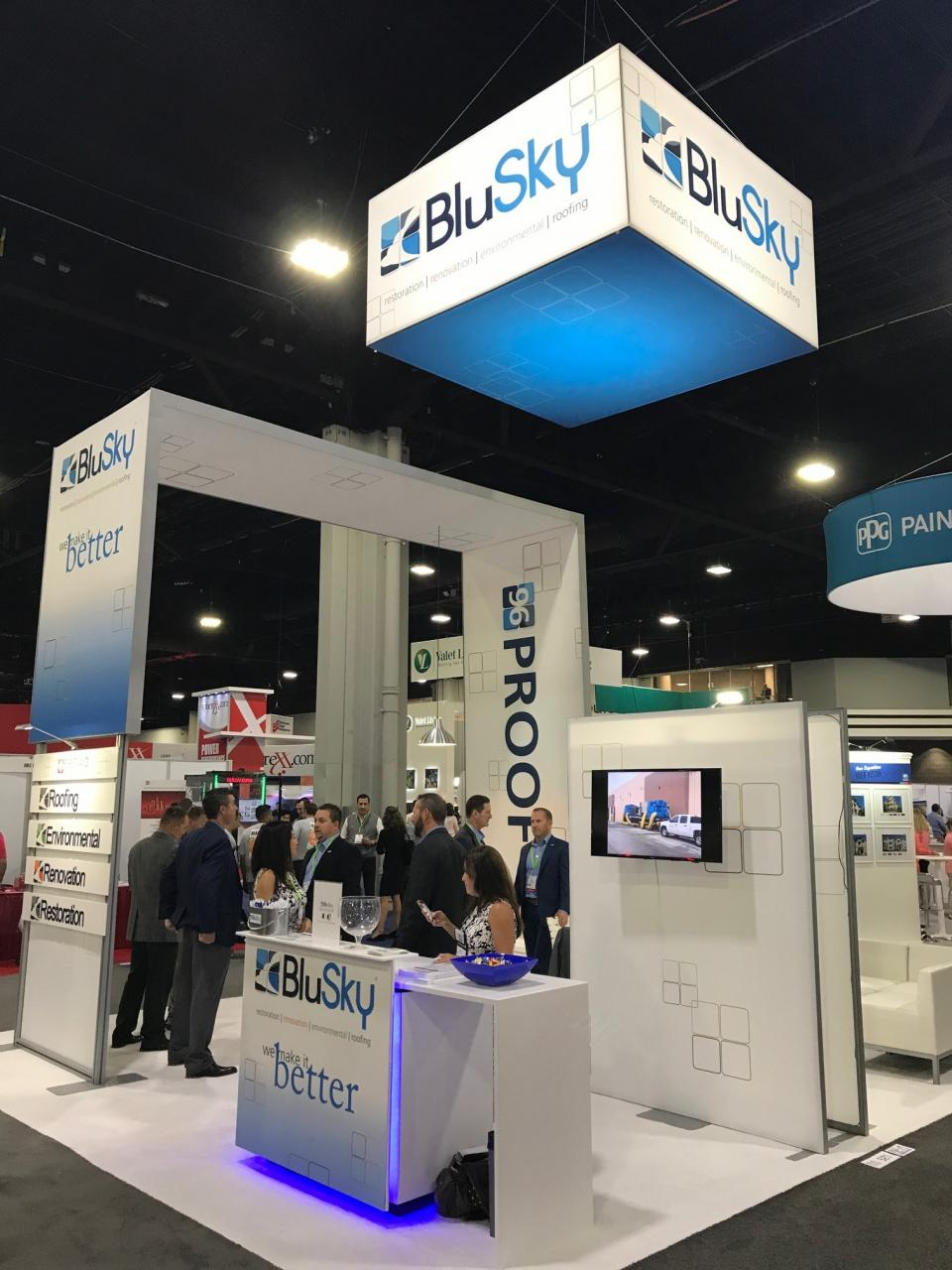 BluSky staff working booth at 2017 NAA Education Conference in Atlanta, GA.