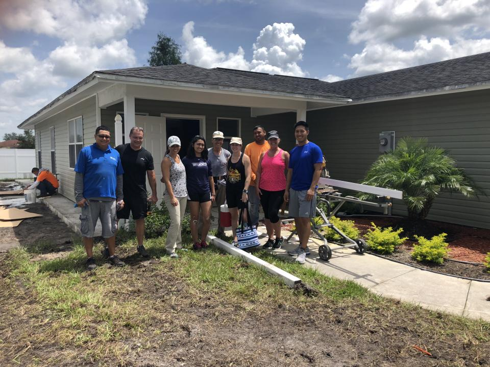 Arthrex employees volunteer together with Habitat for Humanity to help build new homes as well as repair a home that was damaged by Hurricane Irma.
