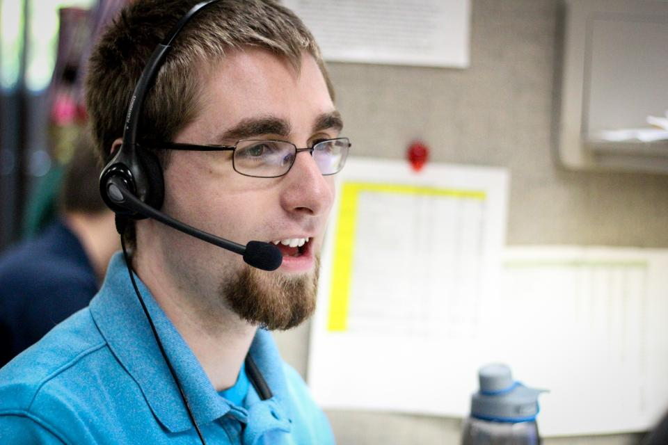 One of our Inside Sales Representatives, Stephen, on a call.