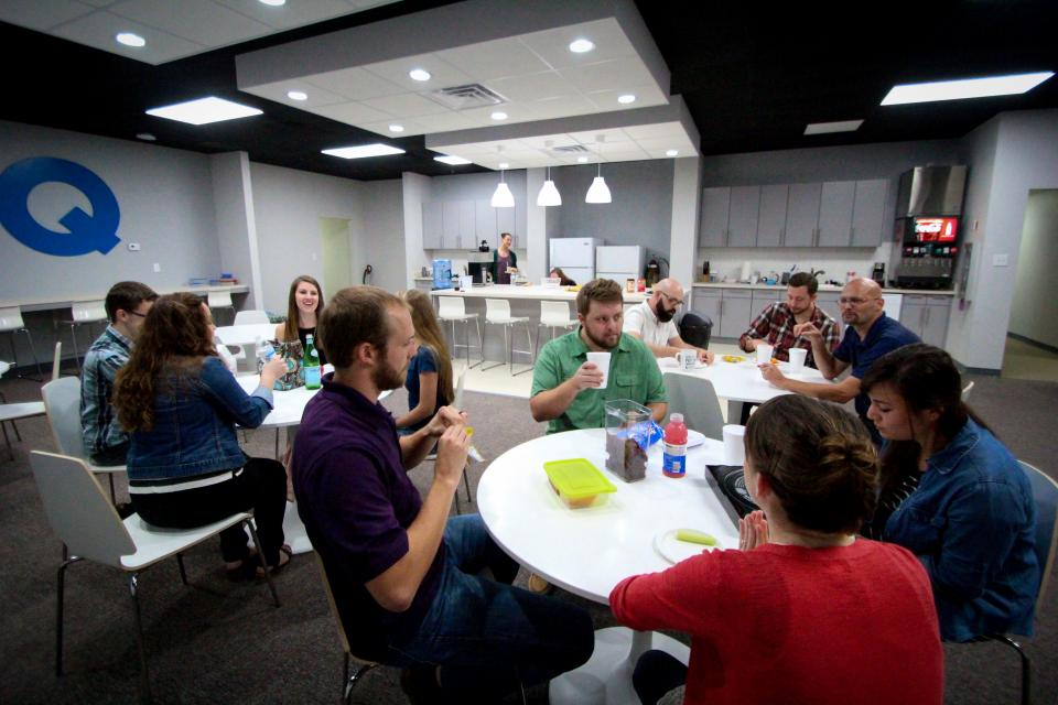 Our break room provides a great space for employees to eat lunch together.