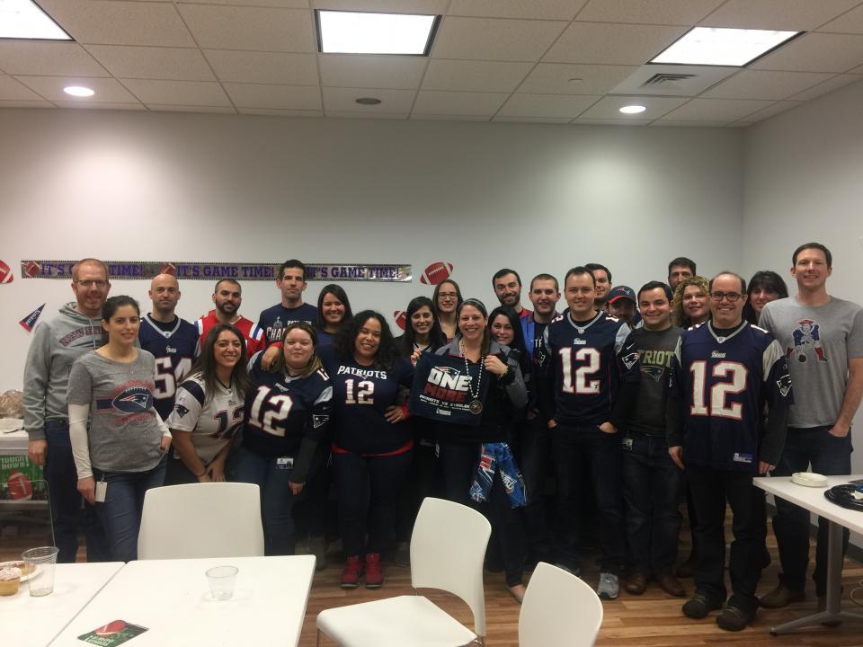 Celebrating the Patriots Super Bowl win