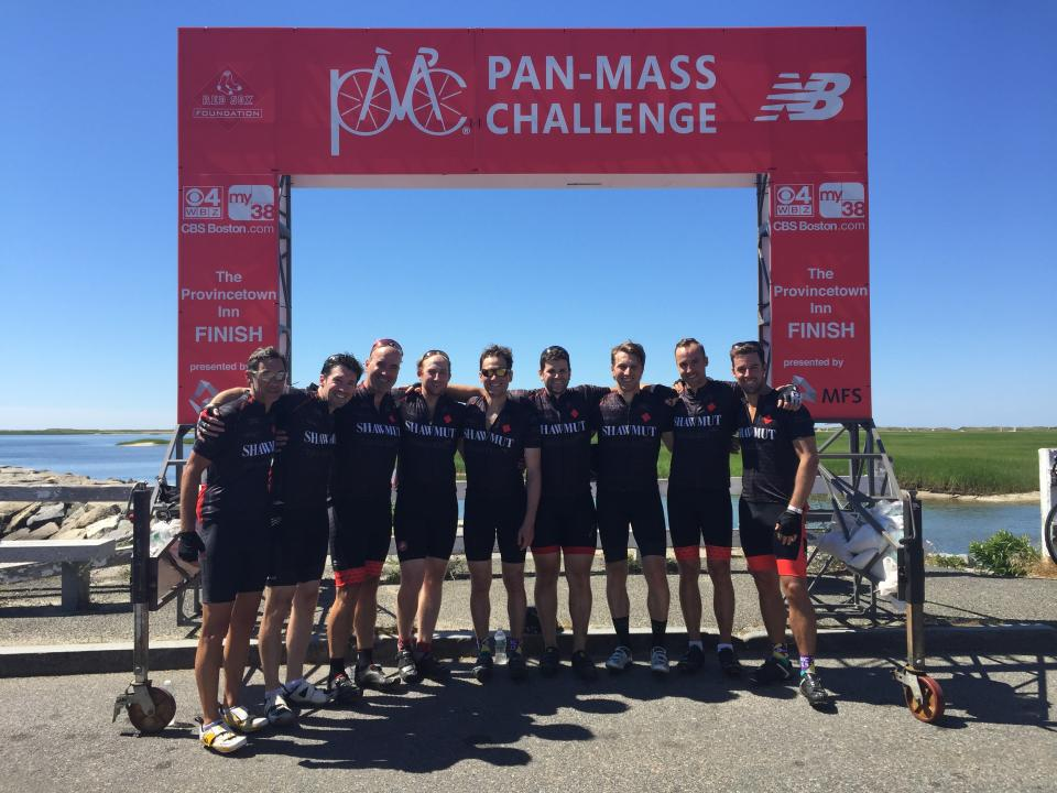 Members of Team Shawmut at the Pan-Mass Challenge finish line. So far, the team has raised $637,480 (and counting)! for cancer research.