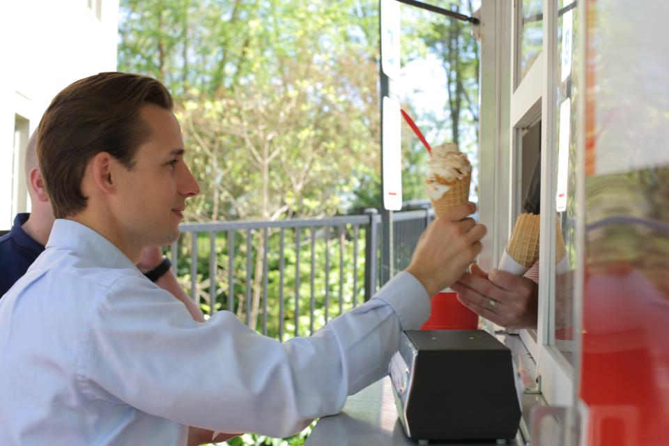 Thursdays at 3 p.m. during the summer months, Dixon Schwabl team members enjoy the frozen treat of their choice at Ice Cream Thursdays! Employees select the vendor for this popular perk following weeks of sampling from area ice cream vendors visiting the agency.