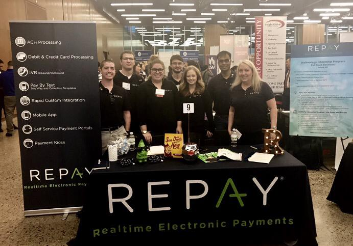 REPAY employees from the Tempe office attend the ASU career fair to recruit new talent for our technology team.